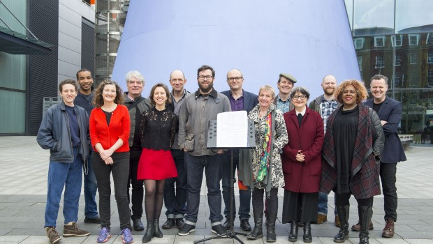 14 April 2016: Compsers at the Albermarle Music Centre in Hull who have been commissioned to write music for the City of Culture 2017. Centre is Sam Hunt, Executive Producer for the City of Culture. Picture: Sean Spencer/Hull News & Pictures Ltd 01482 772651/07976 433960 www.hullnews.co.uk   sean@hullnews.co.uk