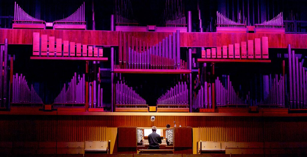 New Music Biennial supported by the PRS For Music Foundation at The Southbank Centre, London, Great Britain 7th July 2017 Day 1 James McVinnie (playing the organ in the Royal festival Hall Auditorium & Darkstar Dance Unity Photograph by Elliott Franks Image licensed to Elliott Franks Photography Services