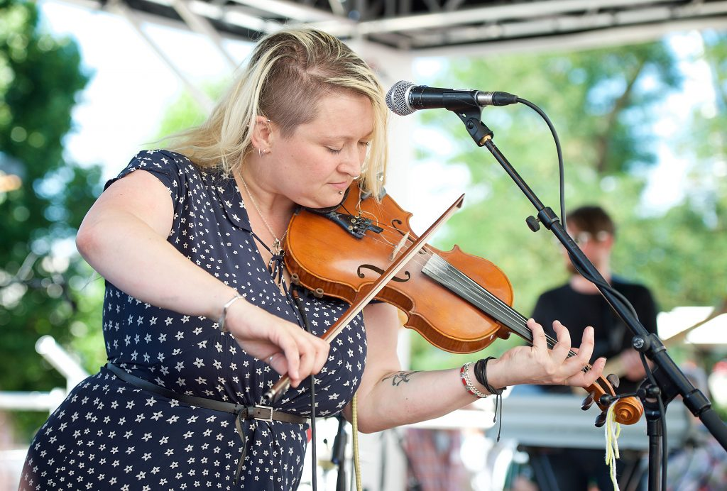 New Music Biennial 2017 supported by the PRS For Music Foundation at The Southbank Centre, London, Great Britain 8th July 2017 Day 2 Eliza Carthy Rivers and Railways Traditional folk musician winner of 5 BBC Radio 2 Folk Awards Rivers and Railways is a collaboration with Moulettes Photograph by Elliott Franks Image licensed to Elliott Franks Photography Services